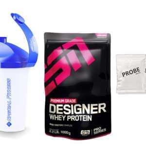 ESN Designer Whey Protein Premium Eiweiß 1kg Standbeutel + SHAKER + 3 PROBEN!