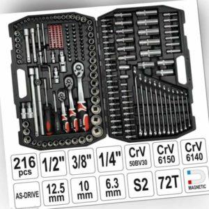 """Yato Werkzeugkoffer Set 216tlg Ratschen Steckschlüssel 1/4"""" 1/2"""" 3/8"""" Langnüsse"""