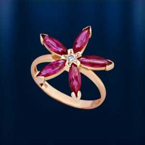 Rose Rotgold 585 Blume RING mit  Korund Rubinen und Zirkonia  Neu Vintage style