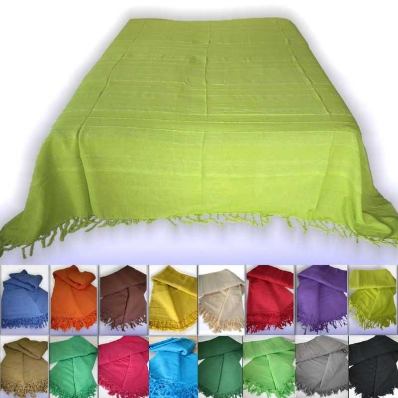 Tagesdecke Bettüberwurf Nepal Vom Webstuhl Baumwolle Plaid Traumfarben Einfarbig