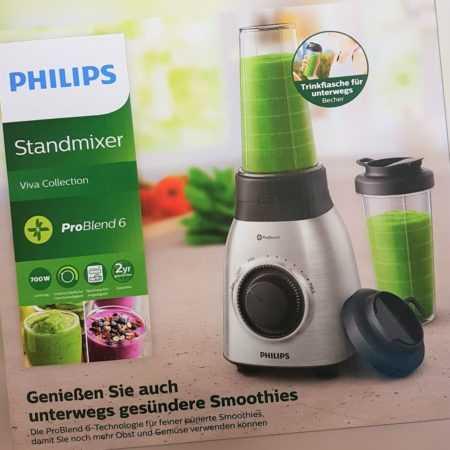 Philips Viva Collection HR3551/00 Standmixer Smoothie-Maker 700W, Silber Neu OVP