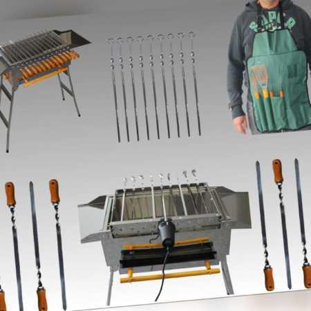 Holzkohlegrill Mangal Schaschlikgrill Spießdreher USB Antrieb Grillspieße Spieße