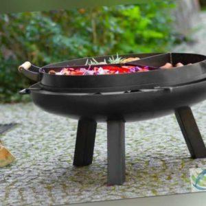 Feuerschale Ø 80 cm mit Grillpfanne und Untersetzer - Feuerkorb Gril