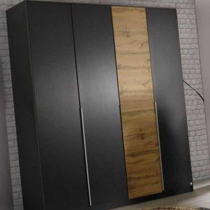 Kleiderschrank 4-trg. Bellezza B 181 cm Schrank mit Zubehör Grau-Metallic Eiche
