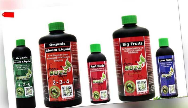 Green Buzz Liquids Set Organic Grow Bloom Fast Buds Big Fruits Clean Fruits