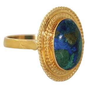 Klassischer Goldring 750 großer Azurit Cabochon Ring Gold 18 kt Damenring
