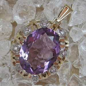 Anhänger mit Amethyst und Diamanten diamonds in aus 14 Kt. 585 Gold pendant