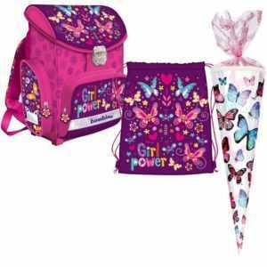 Butterfly Schmetterling 3Teile Set SCHULRANZEN RANZEN TASCHE TORNISTER Schultüte
