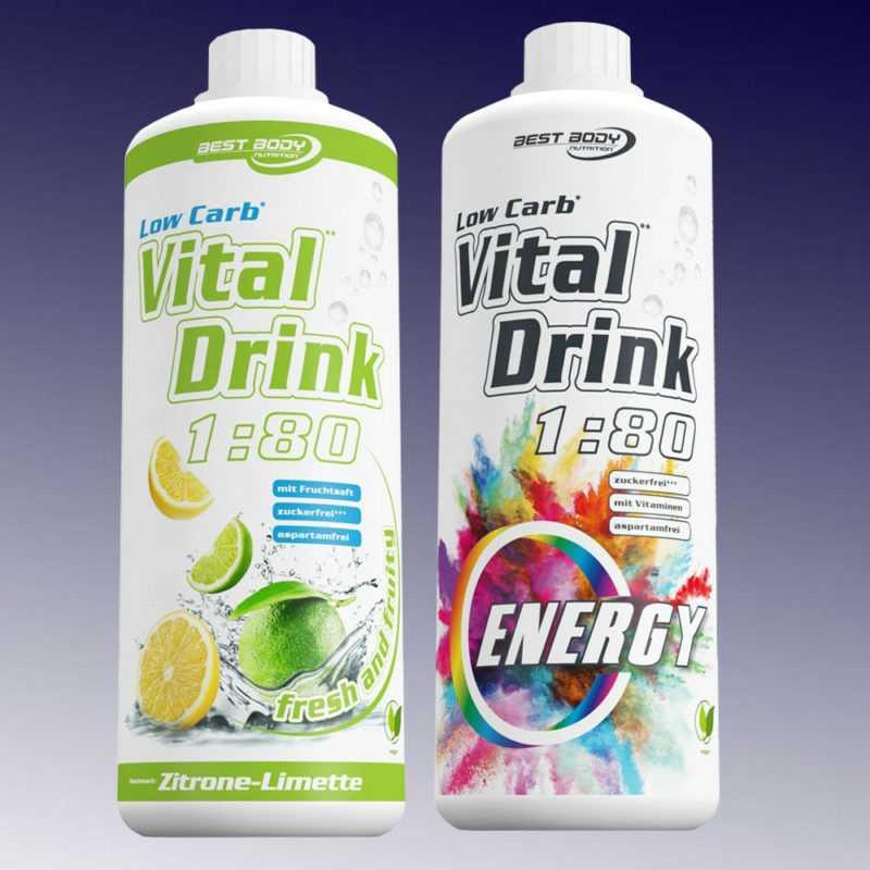 10,00€ /Ltr. Best Body Low Carb Vital Drink  2 x 1 Ltr. Getränkesirup Konzentrat