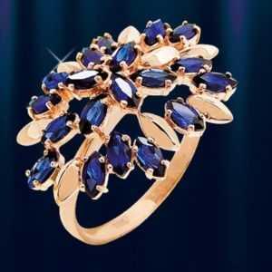 Russische Rose Rotgold 585 Korund Saphir Ring Cluster Blüte Blume 4.5g Neu