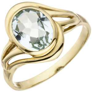 Goldring 14 Karat Damen Aquamarinring (585) Gelbgold Aquamarin Ring Fingerring