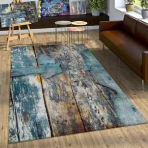 Designer Teppich Bunte Holz Optik Hoch Tief Optik In Türkis Gelb Grau Meliert