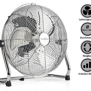 Bodenventilator Windmaschine stark Umluftventilator Boden Ventilator Chrom Groß