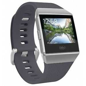 Fitbit Ionic, blaugrau/silbergrau Smartwatches Touch-Screen-Display