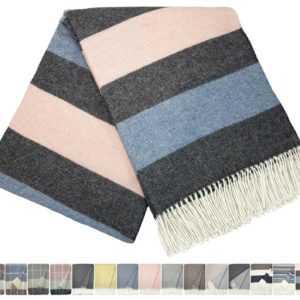Kaschmir Merino Mix Decke Wolldecke sehr weiches Plaid 140x200cm Grau-Rosa-Blau