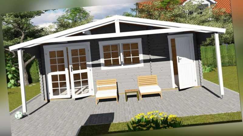 Gartenhaus 2-Raum aus Holz mit Anbau, Blockhaus 6x4M+2.1M, 40mm, Lisa 40058