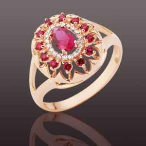 Russisches Rose Rotgold 585 Ring mit Brillanten & Rubinen Korund Spitzenqualität