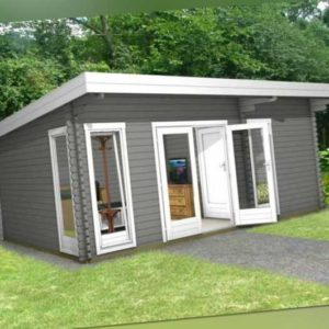 Flachdach 3-Raum Gartenhaus Blockhaus, 5.8x3.9M, 40mm Holz, Dorsten EB40212F18