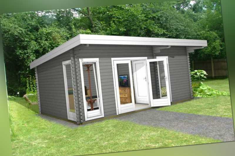Flachdach 3 Raum Gartenhaus Blockhaus 5 8x3 9m 40mm Holz
