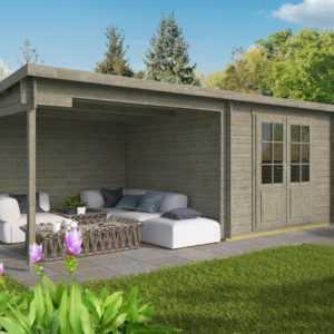 Gartenhaus GRAU ca. 6x3 m Gerätehaus Blockhaus Schuppen Holzhaus Holz 28 mm