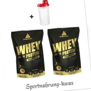16,95 Euro/Kg Doppelpack Peak Whey Protein Concentrate 2 x 1000g + Shaker