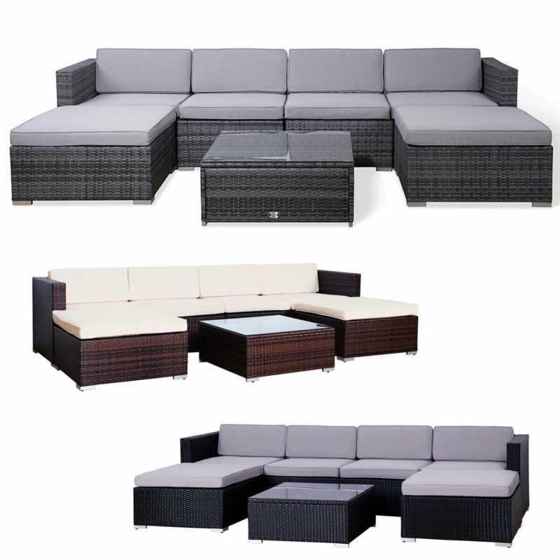 SVITA Lugano Polyrattan Lounge XXL Gartenmöbel Set Sofa Couch Garnitur Rattan