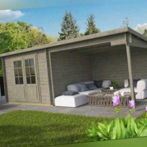 Gartenhaus GRAU ca. 600x300 cm Gerätehaus Blockhaus Schuppen Holzhaus Holz 28 mm