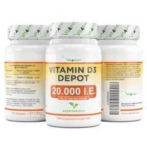 240 - 720 Tabletten Vitamin D3 20.000 I.E. Hochdosiert mit 20000 IE IU D