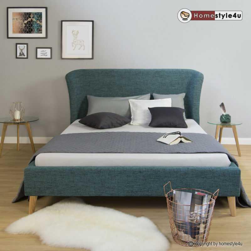 Polsterbett Doppelbett Stoffbett Bettgestell 140 x 200 Bett mit Lattenrost