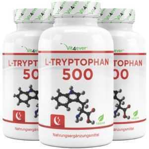 3x L-Tryptophan 500 mg = 720 Kapseln - Aminosäure L-Tryptophane 5-HTP - Vit4ever
