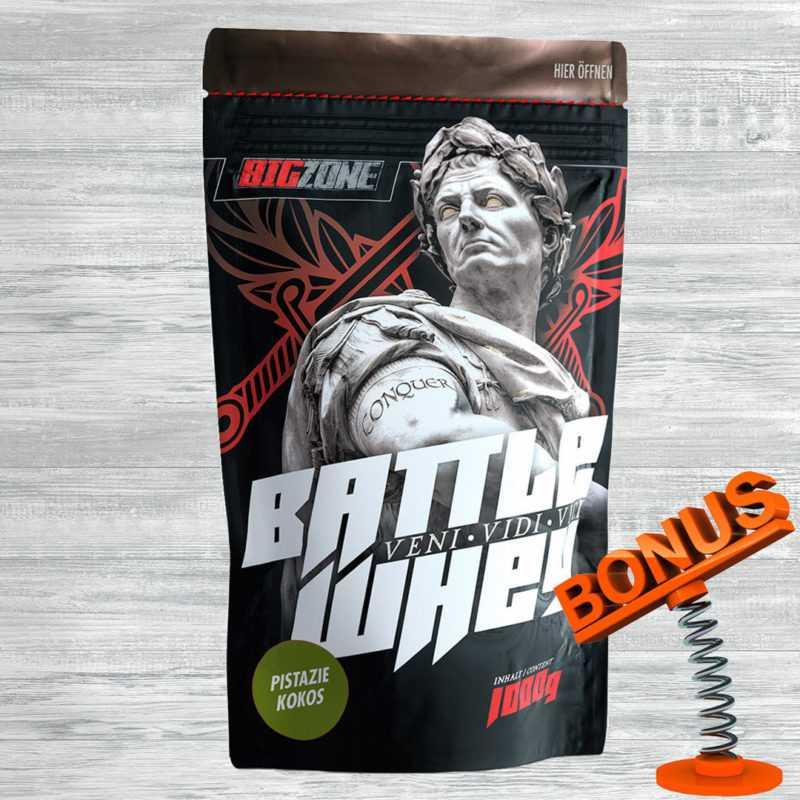 Big Zone Battle Whey Protein 1000g Beutel Eiweiss laktosearm Aspartamfrei +Bonus