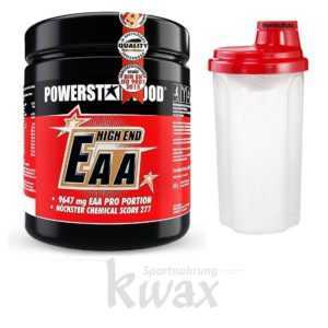 (46,50 Euro/Kg) Powerstar Food - EAA High End Aminosäuren 600 g Pulver + Shaker