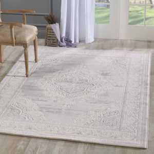 Orient Teppich Modern Meliert Ornamente Grau Creme Wohnzimmer 3D Effekt
