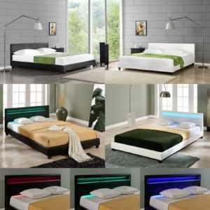 CORIUM® LED Polsterbett 140/160/180/200x200cm Bett  Doppelbett Kunst-Leder