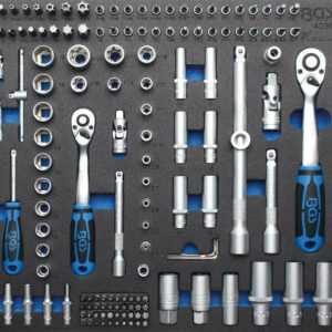 Werkstattwagen-Einlage: Steckschlüsselsatz, 192-tlg. Werkzeugwagen 1/4, 3/8, 1/2