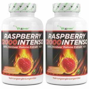 2x Raspberry Ketones = 240 Kapseln 12000 mg pro Tag - Fettverbrennung Diät Vegan
