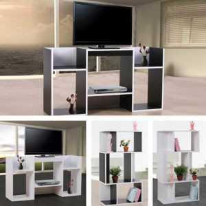 TV-Rack Fernsehtisch Standregal aus Holz 109x59x30 cm schwarz weiß
