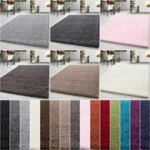 Hochflor Shaggy Teppich Rechteckig und Rund 3 cm Florhöhe Uni Farbe Wohnzimmer