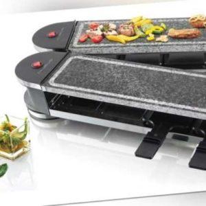 Raclette Heißer Stein ausklappbar Emerio Raclette-Gerät mit 8 Pfännchen Grill