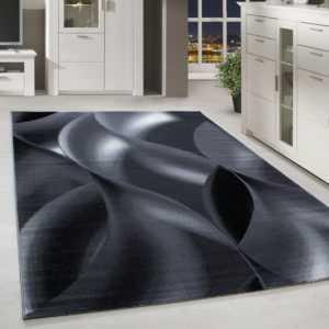 Moderner Kurzflor Teppich Karo abstakt schatten Gemustert Grau Schwarz Meliert