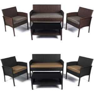 Gartenmöbel Sitzgruppe Polyrattan Lounge Sofa Gartenset Garnitur Set Rattanoptik