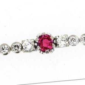 Armband 585er Weiß-Gold 14 Karat Pink Turmalin Brillanten Art Deco Stil