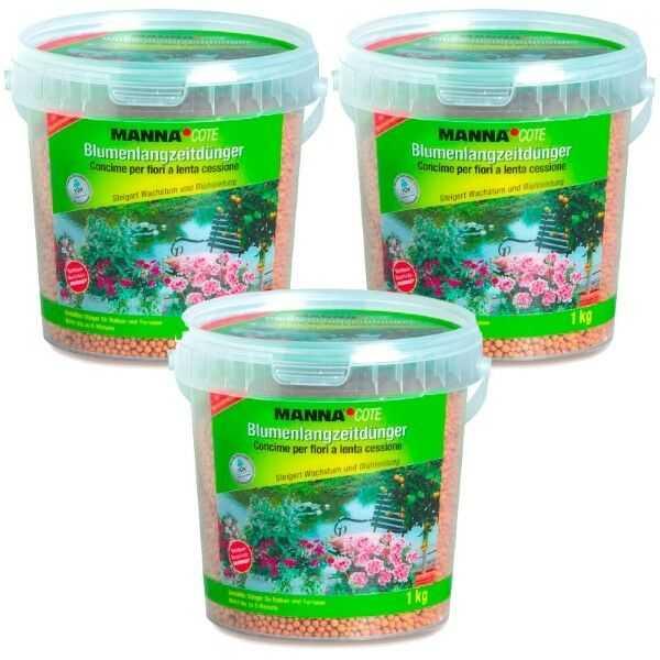 3 x 1 kg Manna Blumen Langzeit Dünger Manna Cote Depot Perls Sparpack