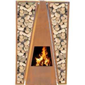 Outdoor/Garten Kamin Feuersäule Maroa in Corten Stahl