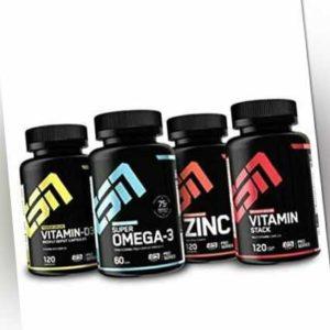 61,56€/kg ESN Set – Vitamin D3, Omega3, Zinc, Vitamin Stack - Mineralien Fitness