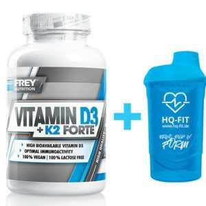 Frey Nutrition Vitamin D3 + K2 Forte - 90 Kapseln 5000 I.E. Vegan +Gratis Shaker