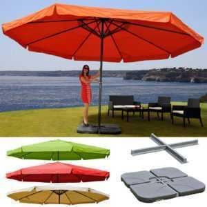 Alu-Sonnenschirm Meran Pro, Gastronomie Marktschirm mit Volant Ø 5m, Farbwahl