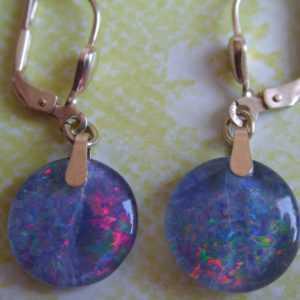 Opal Ohrhänger lang Gold 333, Ohrhänger hochwertig farbige Opal Tripletten 12 mm