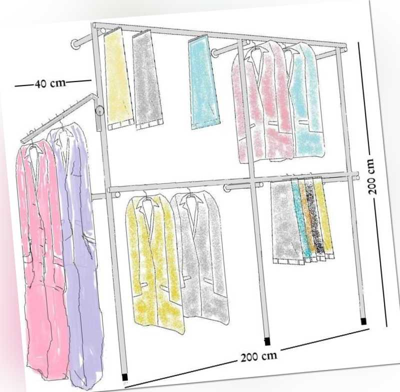 begehbarer Kleiderschrank Wandregal Kleiderkammer Kleiderstange Garderobe W 05
