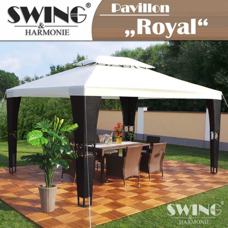 Rattan Pavillon 3x4m Polyrattan Garten Pavilon Gartenmöbel Pavillion Partyzelt